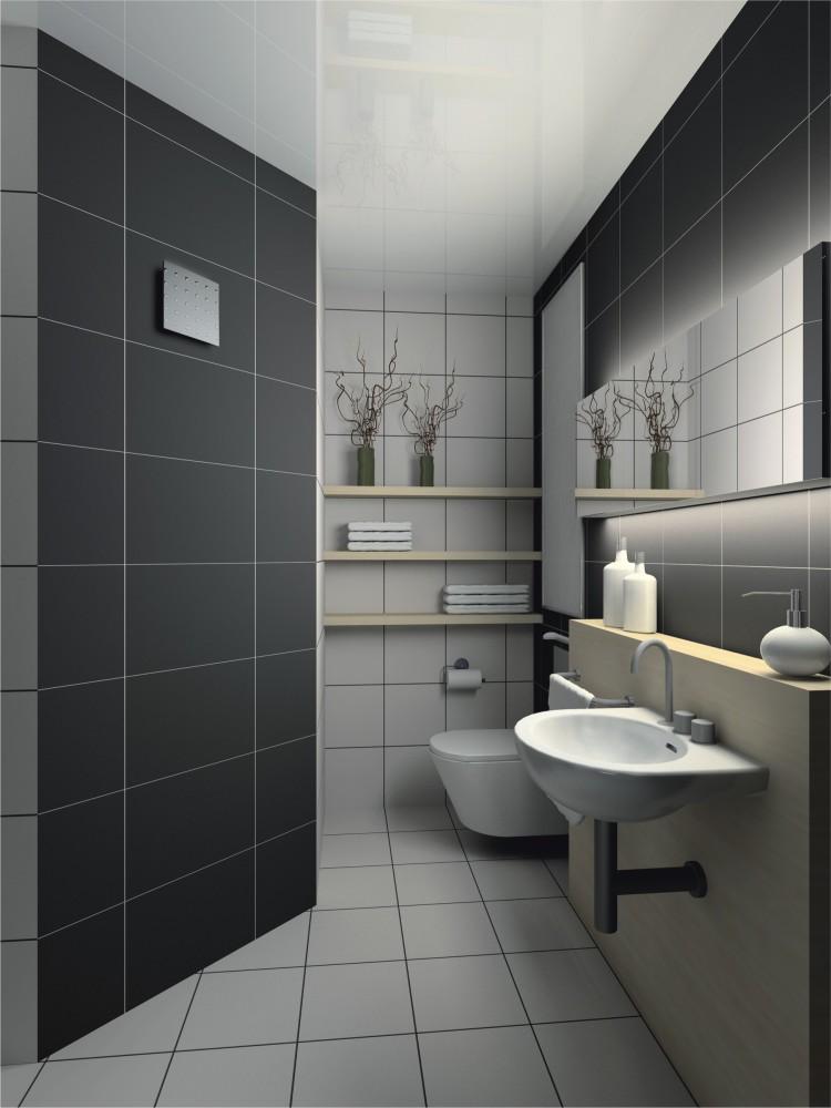 Ванная в  цветах:   Белый, Желтый, Светло-серый, Серый.  Ванная в  стиле:   Минимализм.