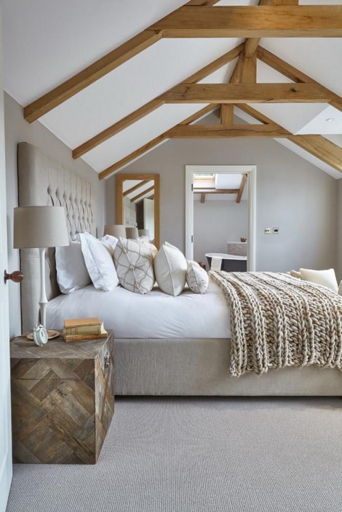 Спальня в  цветах:   Бежевый, Коричневый, Светло-серый, Серый.  Спальня в  стиле:   Эклектика.