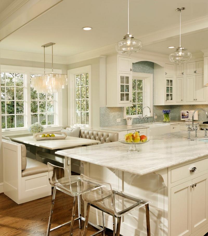 Кухня/столовая в  цветах:   Бежевый, Желтый, Светло-серый, Серый.  Кухня/столовая в  стиле:   Классика.