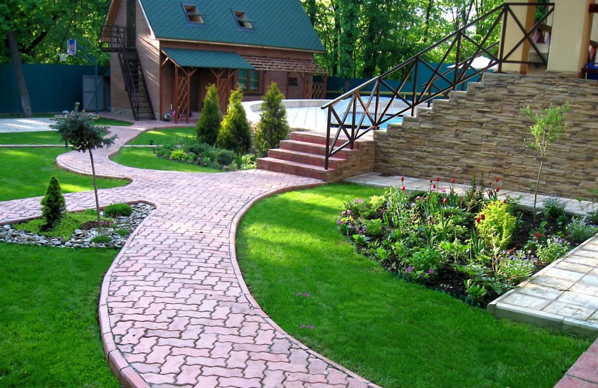 Сад и участок в  цветах:   Белый, Коричневый, Светло-серый, Темно-зеленый.  Сад и участок в  .