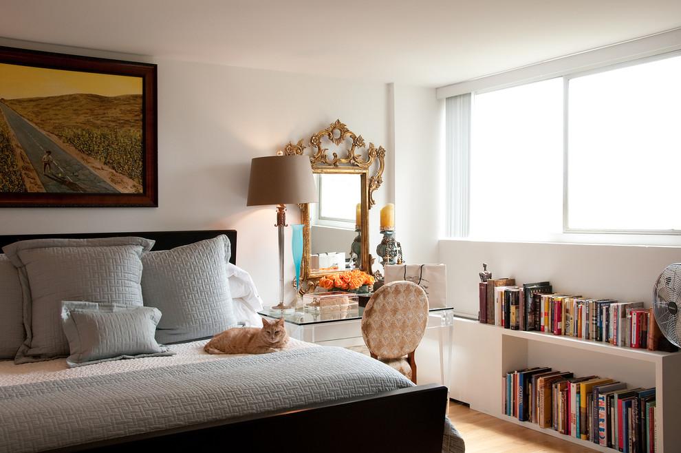 Спальня в  цветах:   Бежевый, Белый, Светло-серый, Черный.  Спальня в  стиле:   Эклектика.