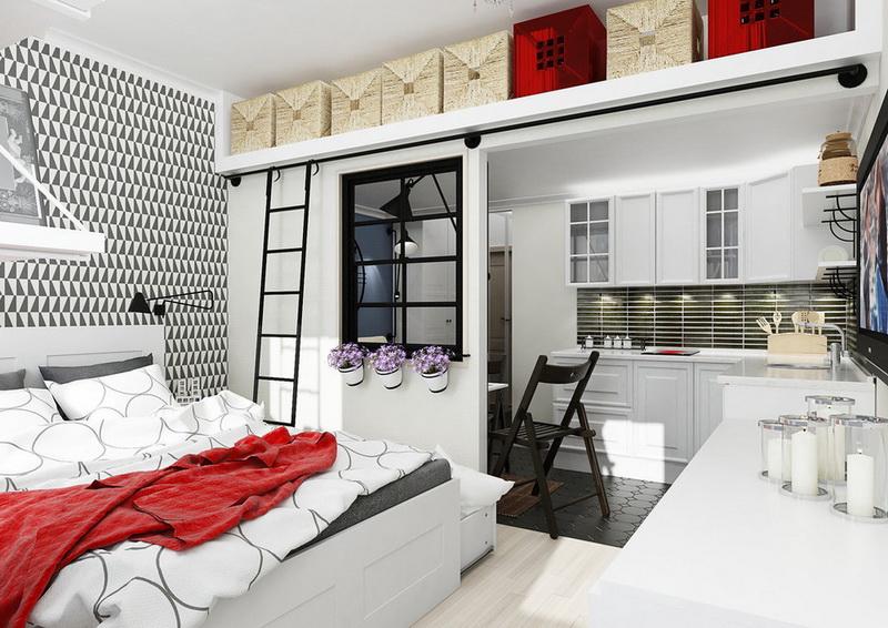 Спальня в  цветах:   Белый, Бордовый, Светло-серый, Темно-коричневый.  Спальня в  стиле:   Скандинавский.