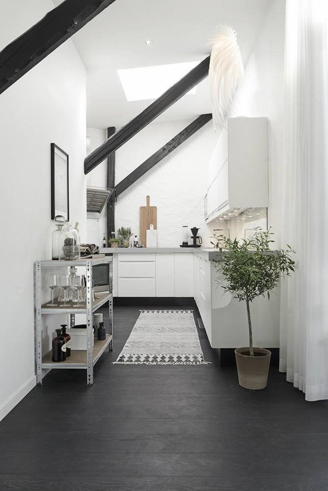 Кухня/столовая в  цветах:   Бежевый, Белый, Светло-серый, Черный.  Кухня/столовая в  стиле:   Минимализм.