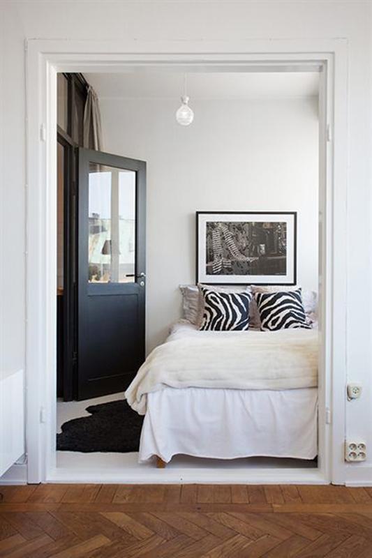 Спальня в  цветах:   Белый, Коричневый, Светло-серый, Серый.  Спальня в  стиле:   Скандинавский.