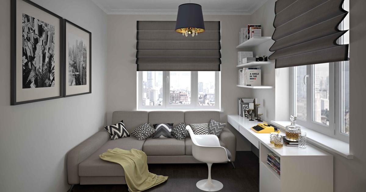 32 квадратных метра: спальня, кухня, гардероб, санузел и рабочая зона