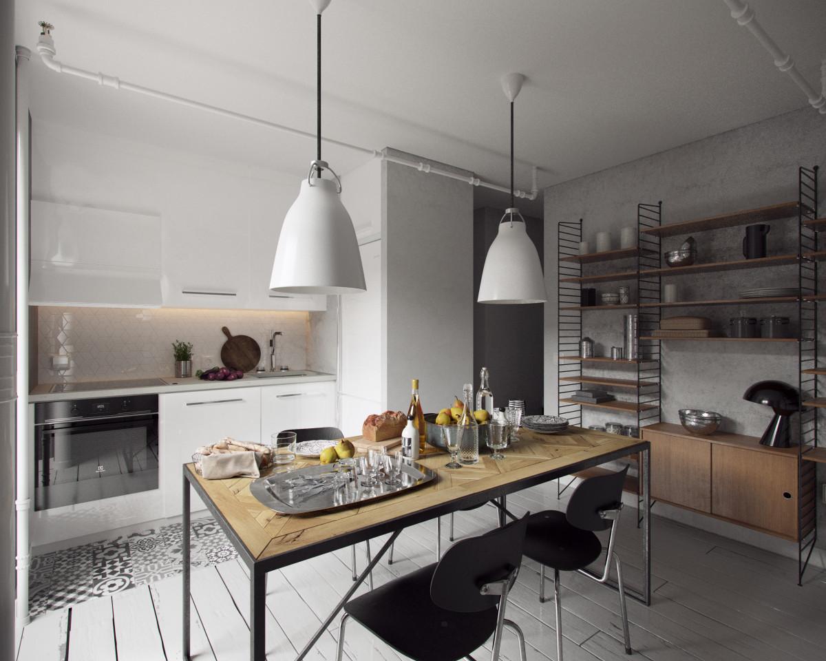 Кухня/столовая в  цветах:   Бежевый, Белый, Светло-серый, Черный.  Кухня/столовая в  стиле:   Лофт.