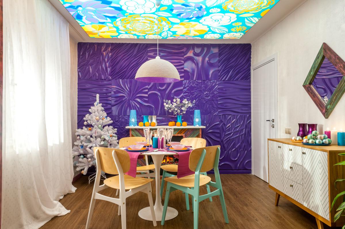Новогодний декор: крутой пример использования фиолетового цвета
