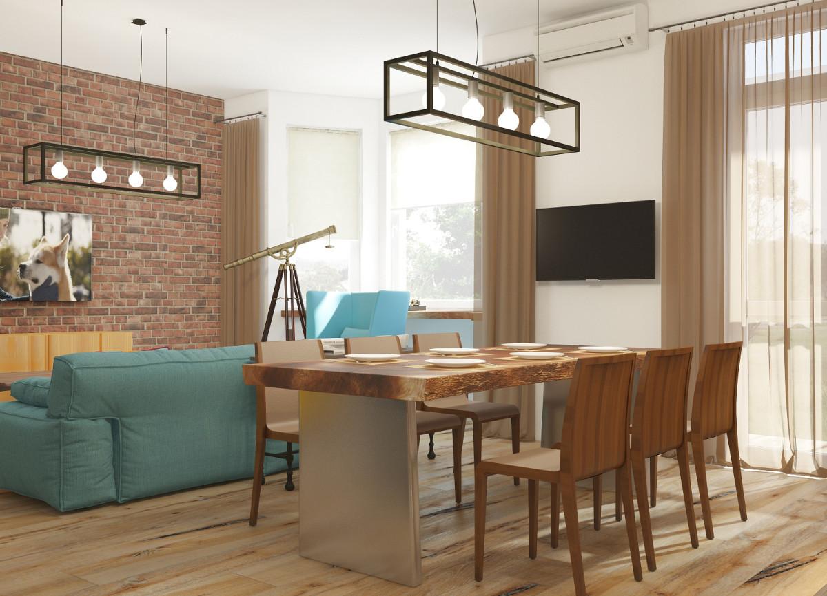 Кухня/столовая в  цветах:   Бежевый, Белый, Коричневый, Светло-серый, Темно-коричневый.  Кухня/столовая в  стиле:   Лофт.
