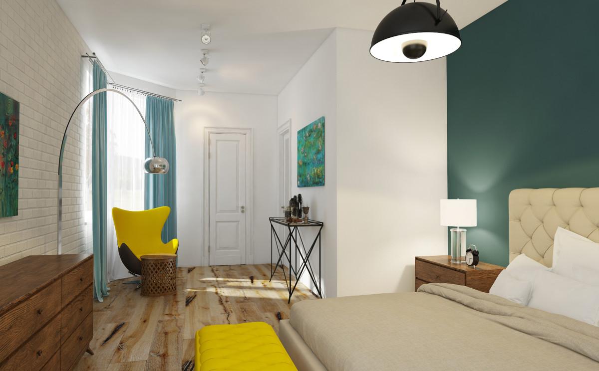 Спальня в  цветах:   Бежевый, Коричневый, Светло-серый, Серый, Синий.  Спальня в  стиле:   Лофт.
