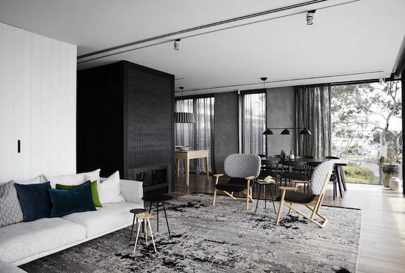 Гостиная, холл в цветах: черный, серый, светло-серый, белый. Гостиная, холл в .