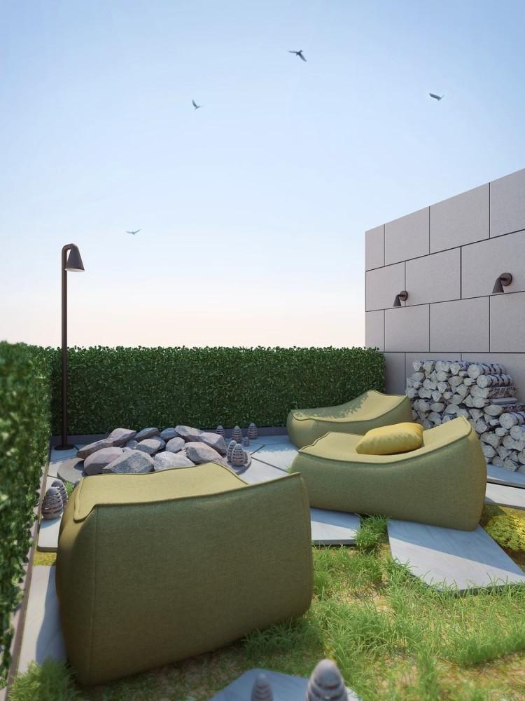 Балкон, веранда, патио в цветах: серый, светло-серый, белый, темно-зеленый. Балкон, веранда, патио в стилях: минимализм, экологический стиль.