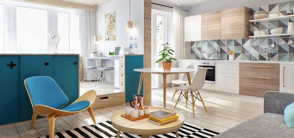 Как обустраивать зоны в квартире-студии: проект в Москве