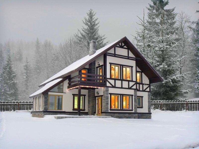Архитектура в цветах: черный, серый, белый, бежевый. Архитектура в стиле экологический стиль.