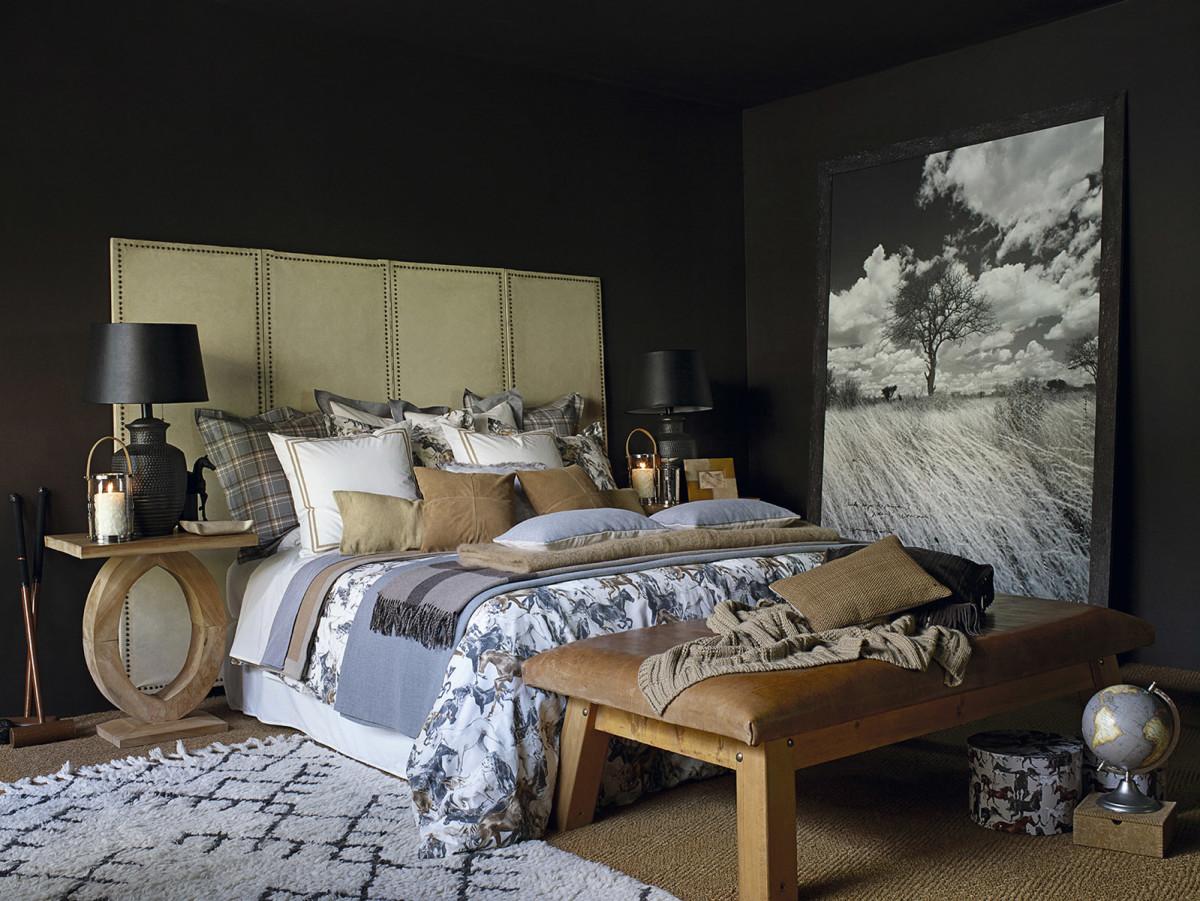 Спальня в цветах: серый, светло-серый, коричневый, бежевый. Спальня в стилях: кантри, американский стиль, этника.