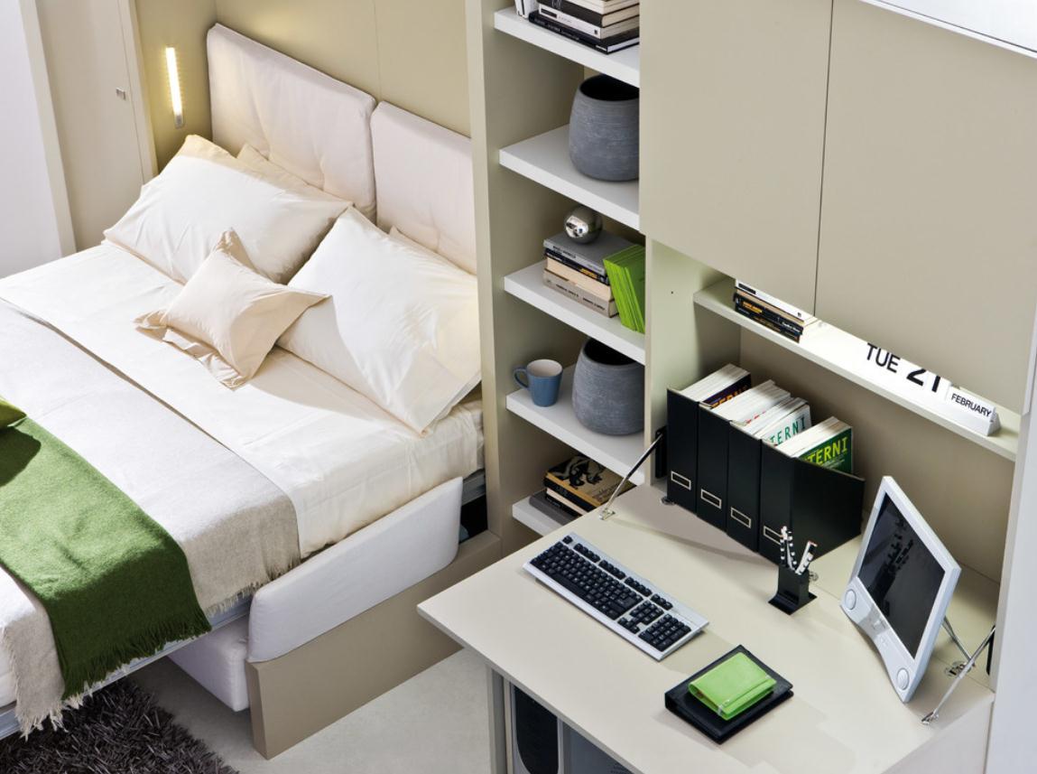 Спальня в цветах: белый, бежевый. Спальня в стиле минимализм.