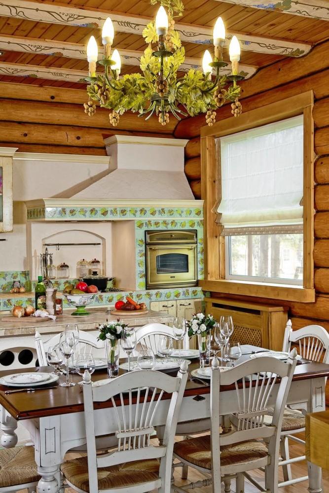 Кухня в цветах: зеленый, светло-серый, белый, коричневый, бежевый. Кухня в стиле прованс.