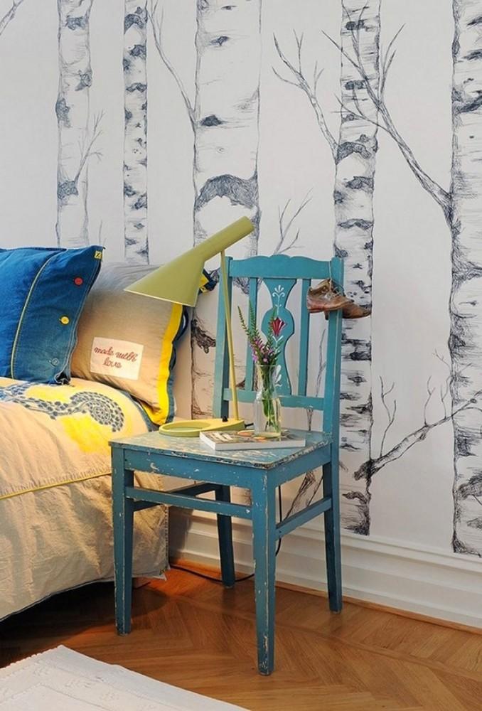 Спальня в цветах: желтый, серый, сине-зеленый, бежевый. Спальня в стилях: кантри.