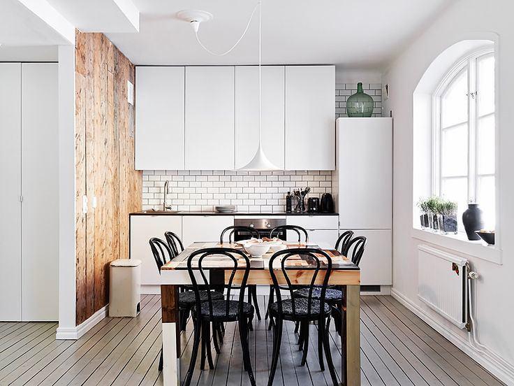Кухня в цветах: желтый, черный, серый, белый. Кухня в стиле скандинавский стиль.