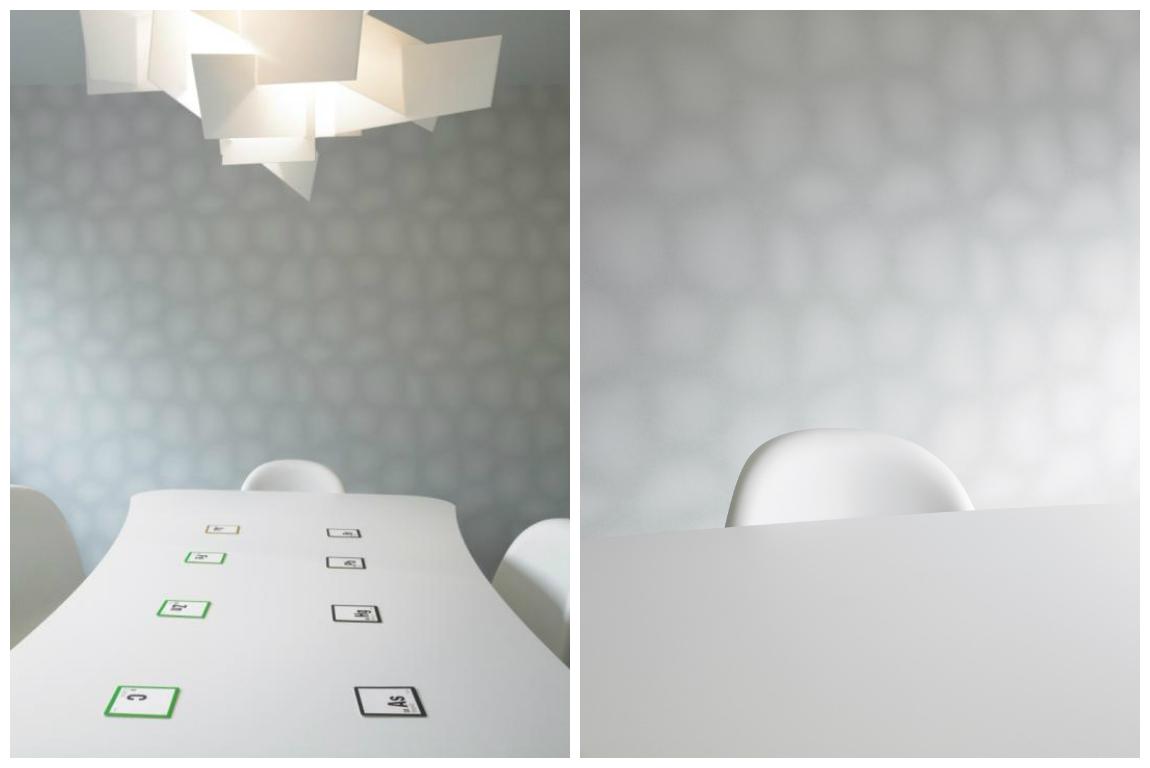 Столовая в цветах: светло-серый, белый. Столовая в стиле минимализм.