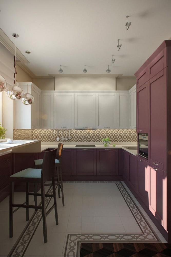 Кухня в цветах: белый, сиреневый, коричневый, бежевый. Кухня в стиле арт-деко.