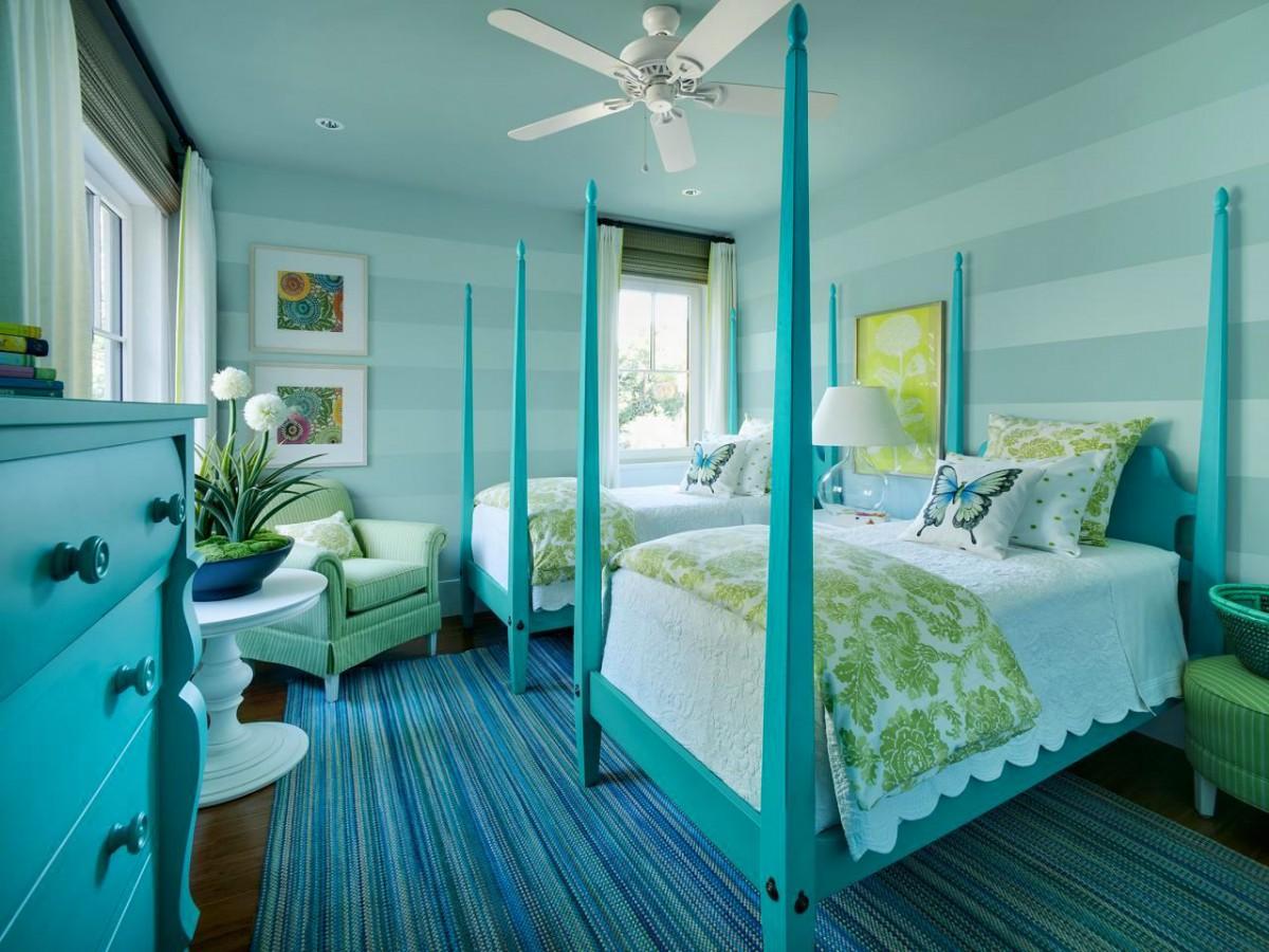 Спальня в цветах: голубой, бирюзовый, белый, салатовый, сине-зеленый. Спальня в .
