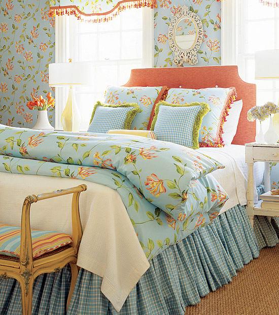 Спальня в цветах: бирюзовый, светло-серый, белый, бежевый. Спальня в стиле французские стили.