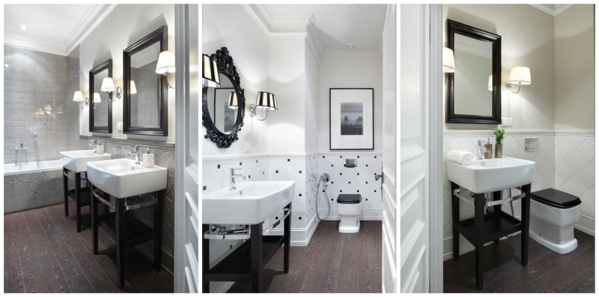 Туалет в цветах: черный, белый, темно-коричневый. Туалет в стиле американский стиль.