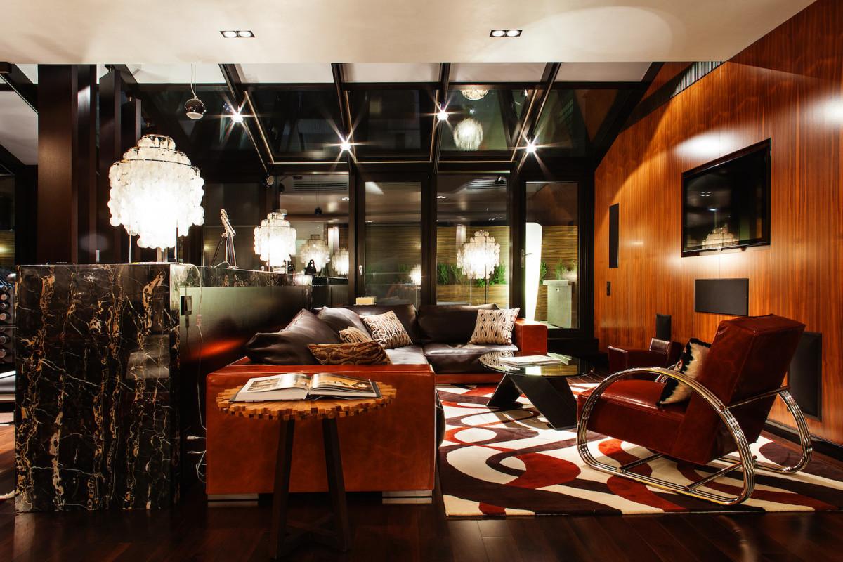 Гостиная, холл в цветах: бордовый, темно-коричневый, коричневый, бежевый. Гостиная, холл в стиле арт-деко.