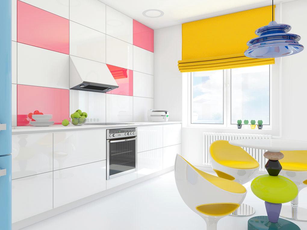 Гостиная, холл в цветах: желтый, белый, розовый. Гостиная, холл в стиле эклектика.