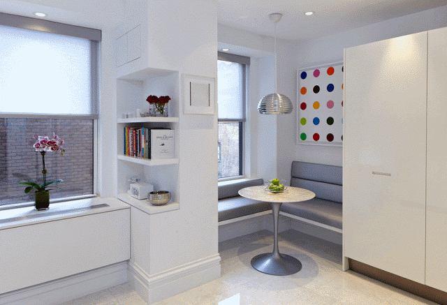 Кухня в цветах: фиолетовый, серый, светло-серый, белый. Кухня в стиле эклектика.
