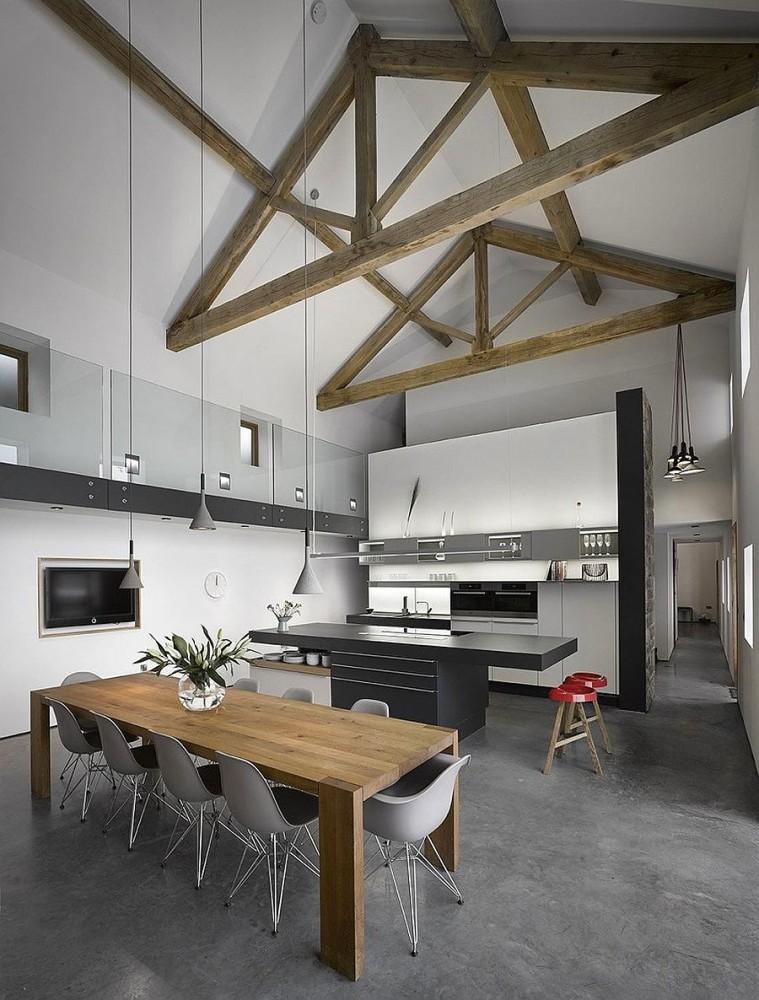 Кухня в цветах: черный, серый, светло-серый, белый, бежевый. Кухня в стилях: минимализм.