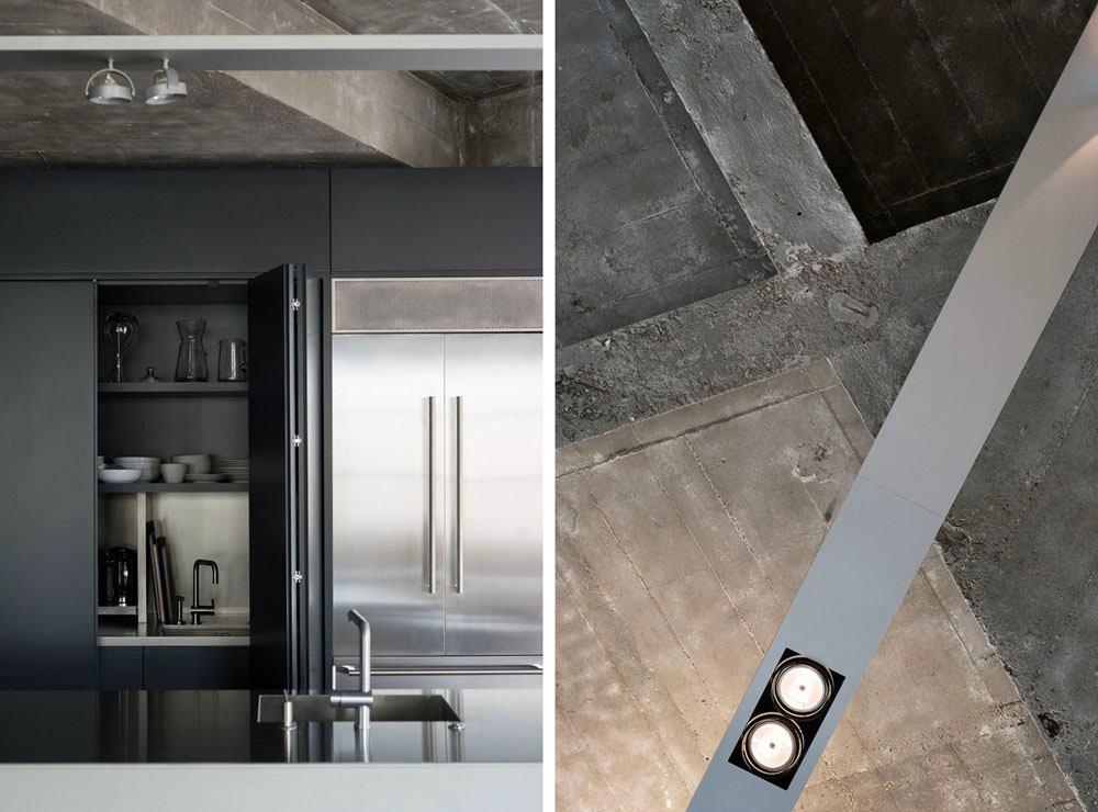 Кухня в цветах: черный, серый, светло-серый, белый. Кухня в стиле лофт.