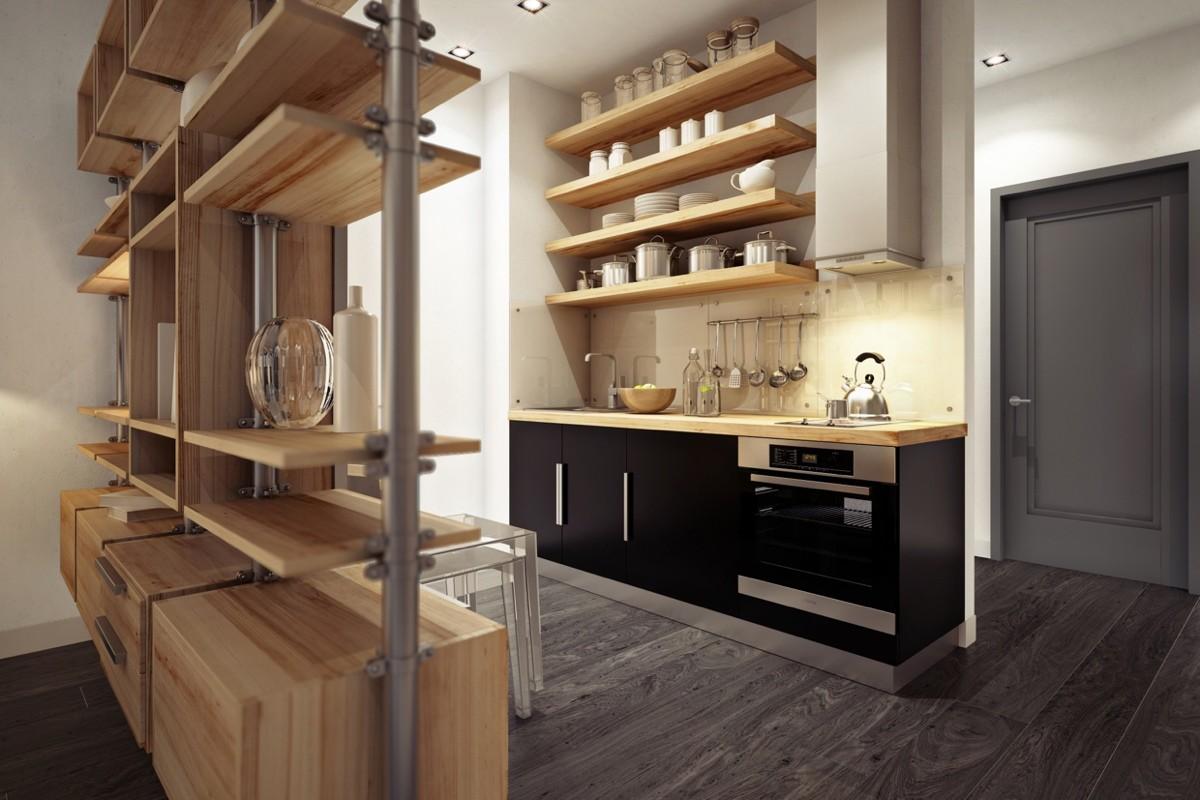 Кухня в цветах: черный, серый, светло-серый, коричневый, бежевый. Кухня в стилях: минимализм, экологический стиль.