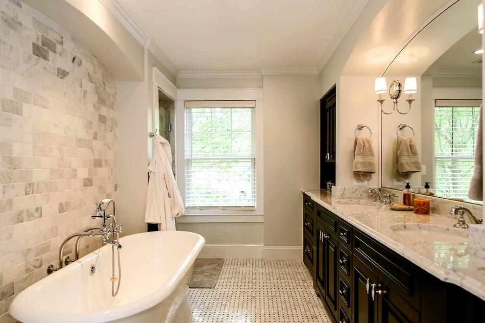Туалет в цветах: серый, светло-серый, белый, темно-коричневый, бежевый. Туалет в стилях: лофт, неоклассика, эклектика.