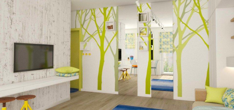 Оптимистичный дом для двух девушек: как зонировать квартиру цветом
