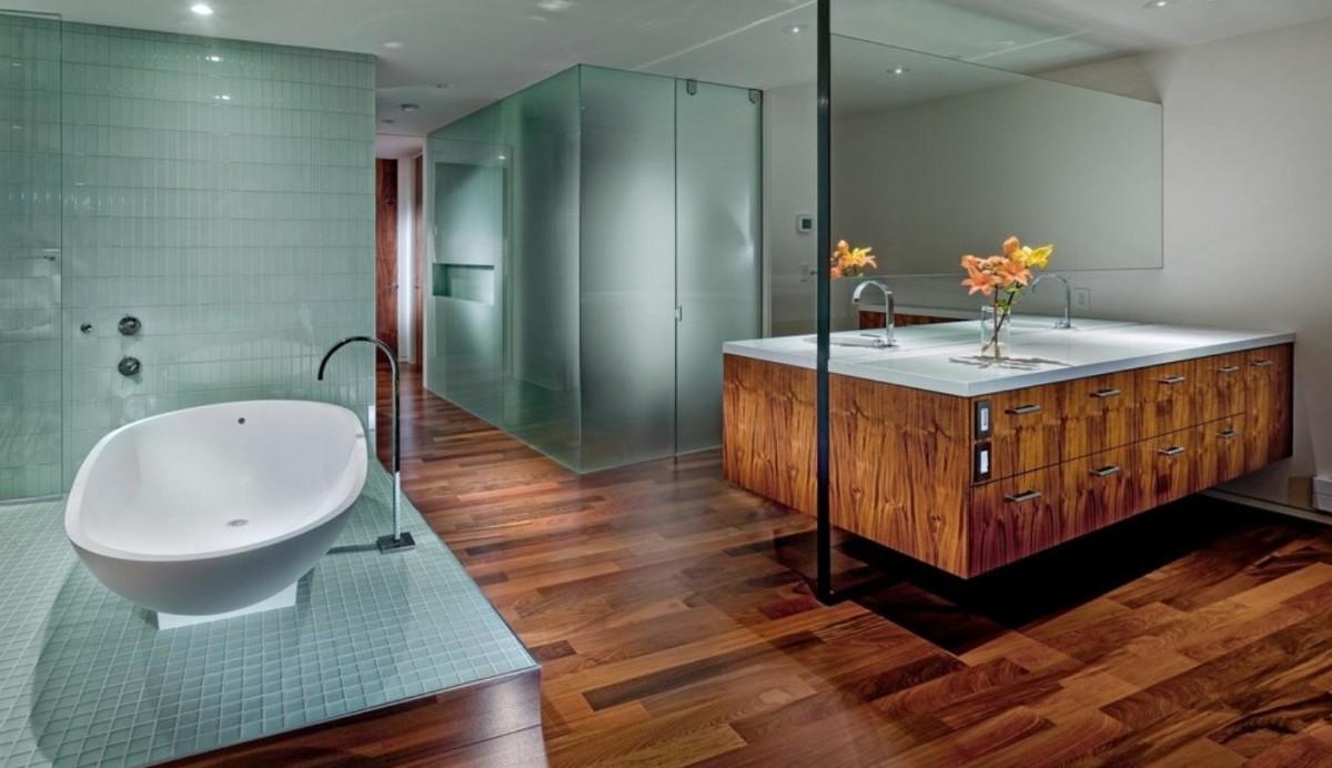 Туалет в цветах: бирюзовый, коричневый. Туалет в стиле минимализм.