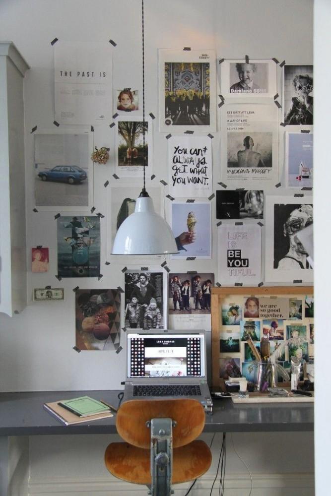 Офис в цветах: черный, серый, белый, коричневый. Офис в стиле эклектика.