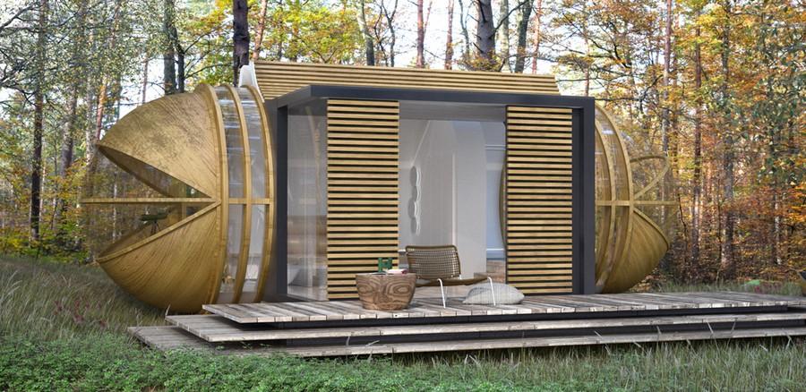 Архитектура в цветах: серый, светло-серый, бежевый. Архитектура в стиле экологический стиль.