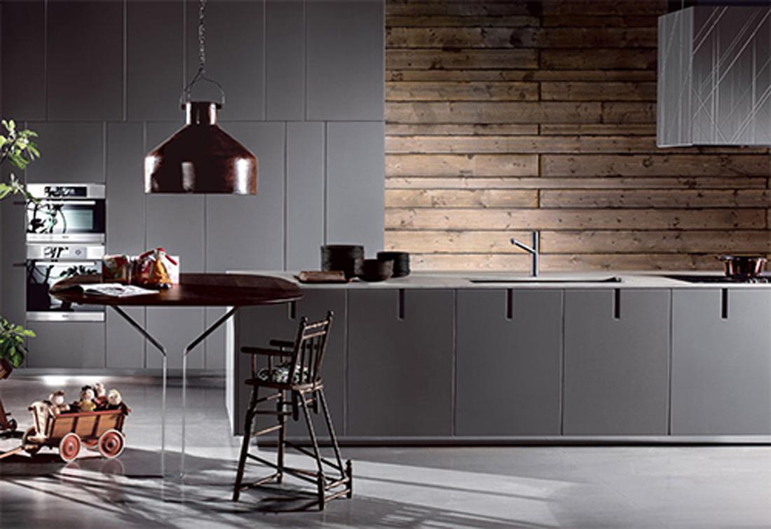 Кухня в цветах: желтый, серый, светло-серый, темно-коричневый. Кухня в стиле хай-тек.