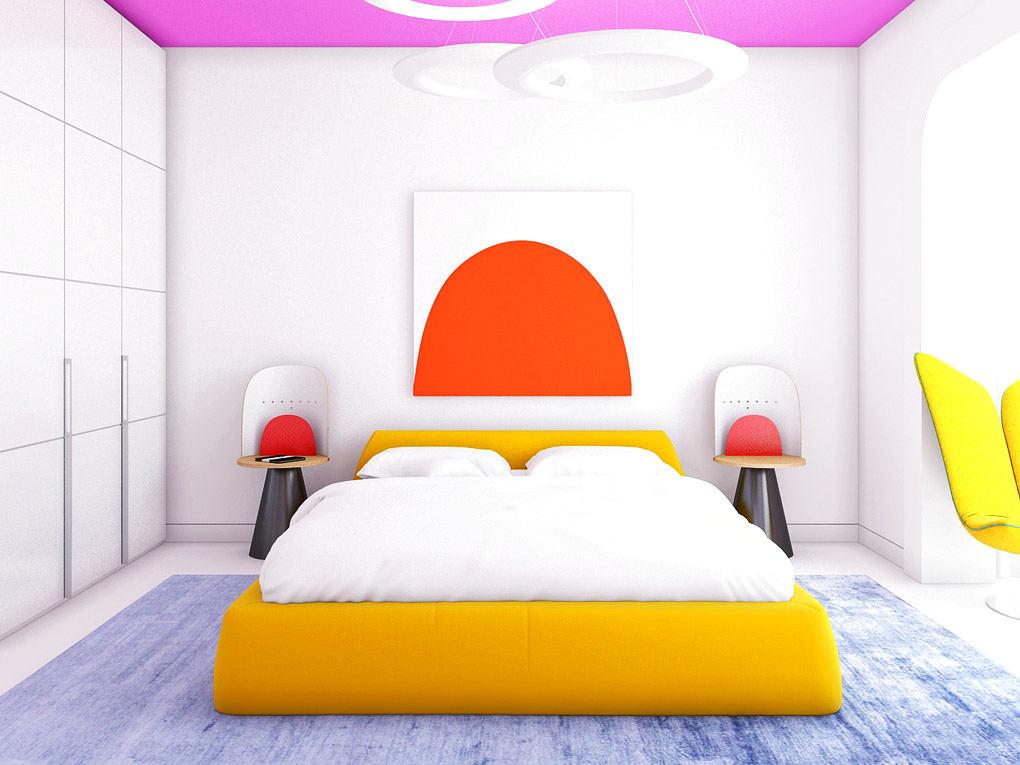 Мебель и предметы интерьера в цветах: красный, желтый, голубой, белый, розовый. Мебель и предметы интерьера в стиле эклектика.