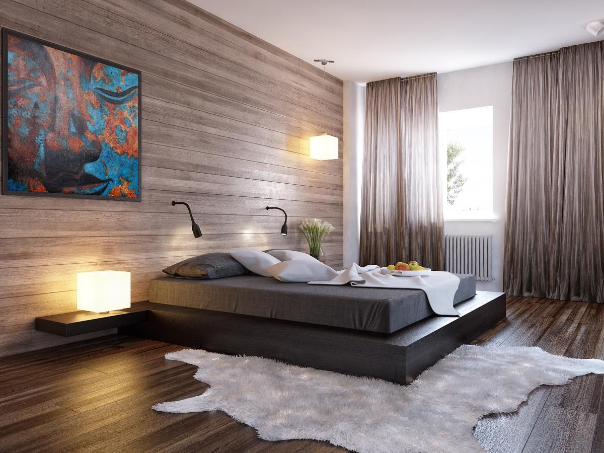 Спальня в цветах: черный, серый, светло-серый, белый, темно-коричневый. Спальня в стиле хай-тек.