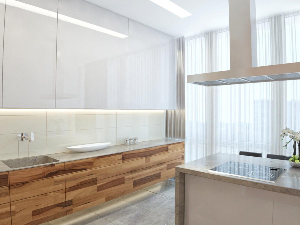 Кухня в цветах: белый, коричневый, бежевый. Кухня в стилях: минимализм, экологический стиль.