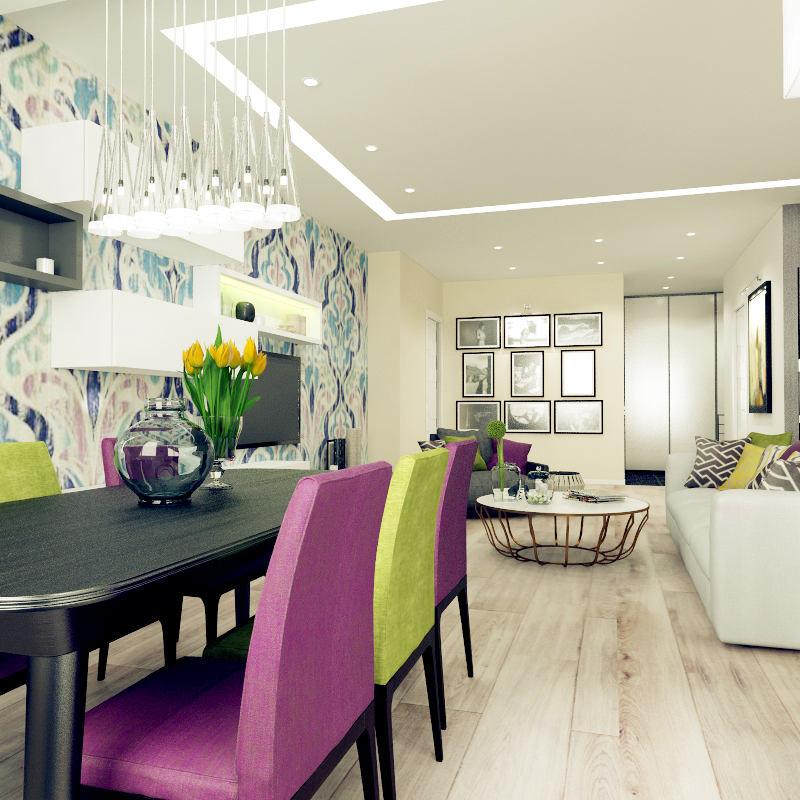 Гостиная, холл в цветах: черный, светло-серый, белый, салатовый, сиреневый. Гостиная, холл в стиле минимализм.