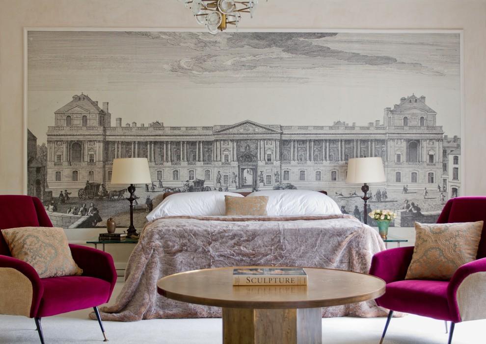 Спальня в цветах: светло-серый, белый, сиреневый, бежевый. Спальня в стиле арт-деко.