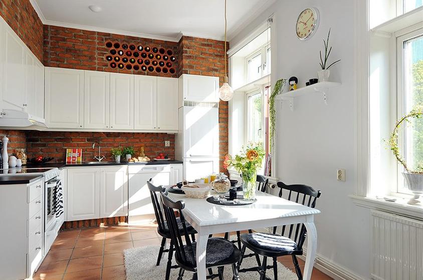 Кухня в цветах: серый, светло-серый, белый, коричневый. Кухня в стилях: скандинавский стиль.