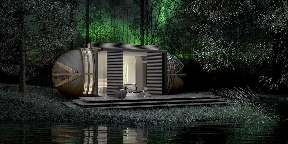 Архитектура в цветах: серый, темно-зеленый, сине-зеленый. Архитектура в стиле экологический стиль.