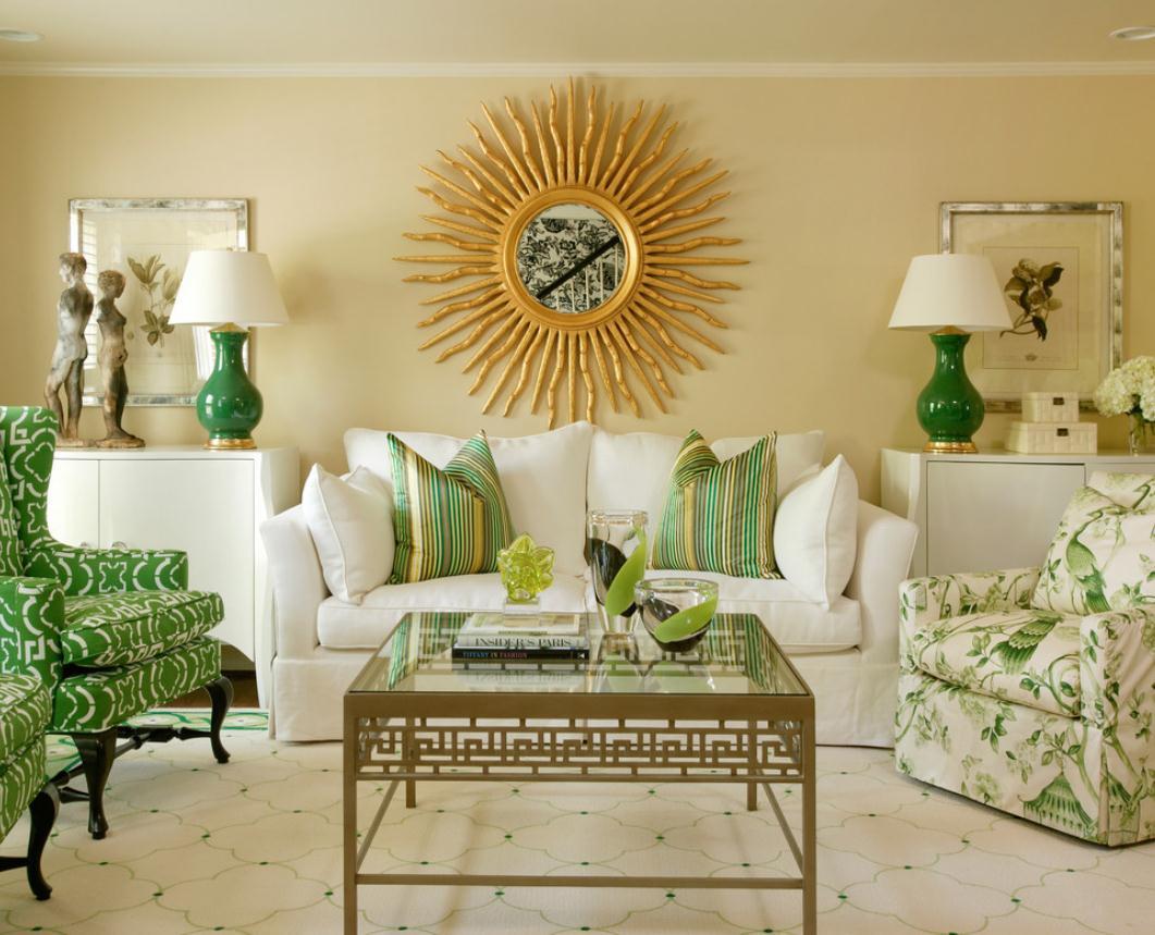 Гостиная, холл в цветах: зеленый, белый, бежевый. Гостиная, холл в стиле неоклассика.