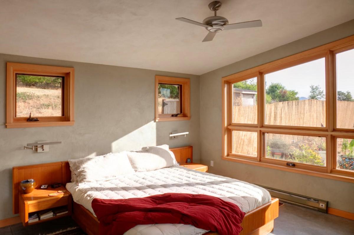Спальня в цветах: желтый, светло-серый, белый, коричневый, бежевый. Спальня в .