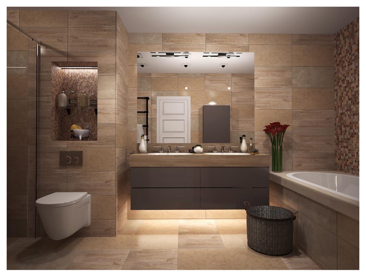 Ванная в  цветах:   Бежевый, Белый, Коричневый, Светло-серый, Темно-коричневый.  Ванная в  стиле:   Минимализм.