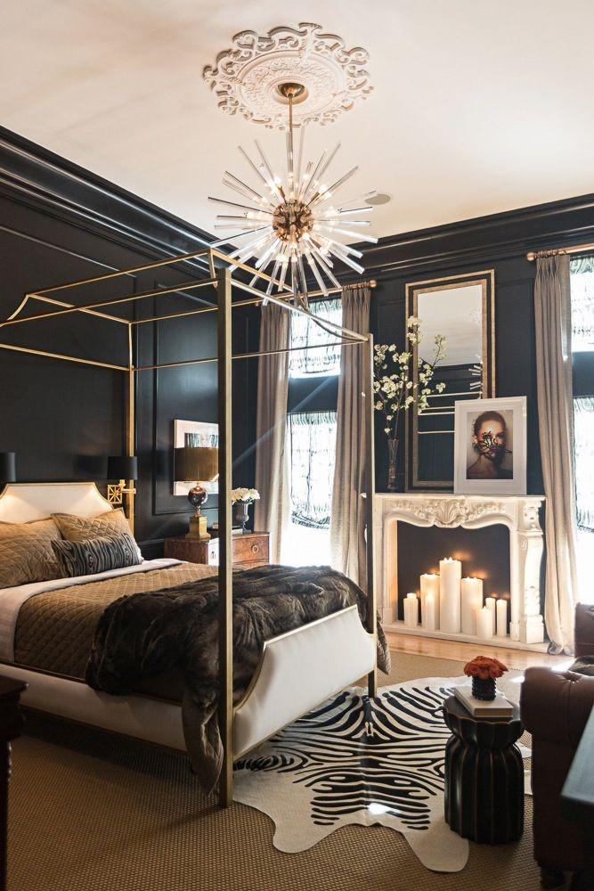 Спальня в  цветах:   Бежевый, Светло-серый, Серый, Темно-коричневый, Черный.  Спальня в  стиле:   Арт-деко.